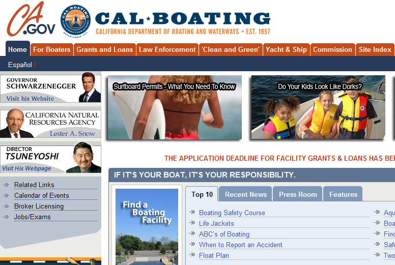 california boating website
